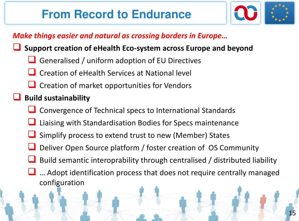 International Standards Liaising with Standardisation Bodies for Specs maintenance Simplify process to extend trust to new (Member) States Deliver Open Source platform / foster