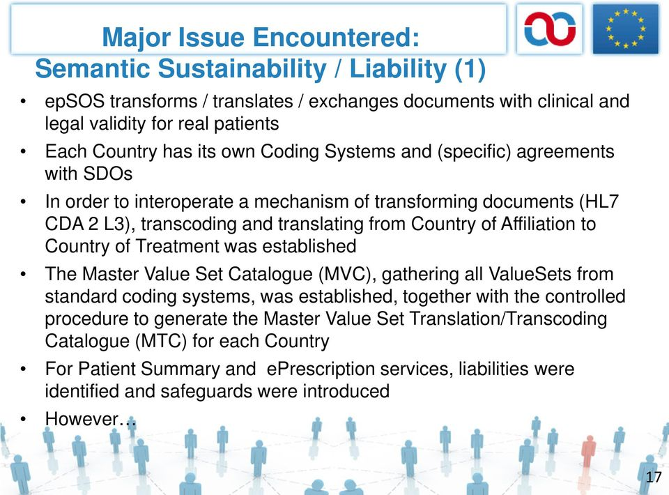 Country of Treatment was established The Master Value Set Catalogue (MVC), gathering all ValueSets from standard coding systems, was established, together with the controlled procedure to