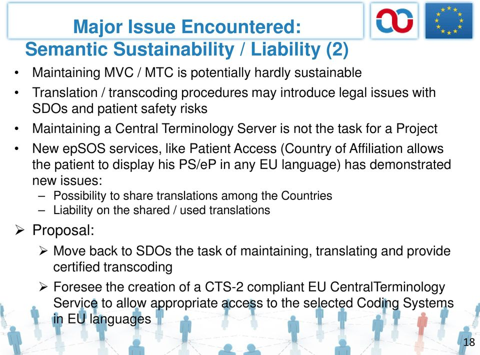 PS/eP in any EU language) has demonstrated new issues: Possibility to share translations among the Countries Liability on the shared / used translations Proposal: Move back to SDOs the task of