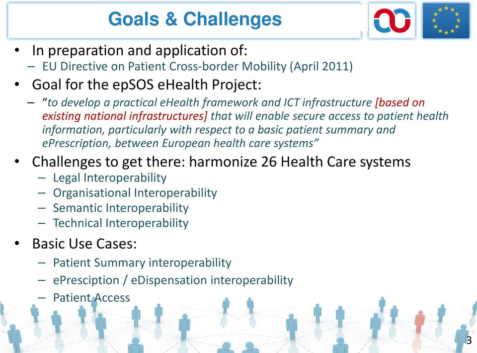 a basic patient summary and eprescription, between European health care systems Challenges to get there: harmonize 26 Health Care systems Legal Interoperability Organisational
