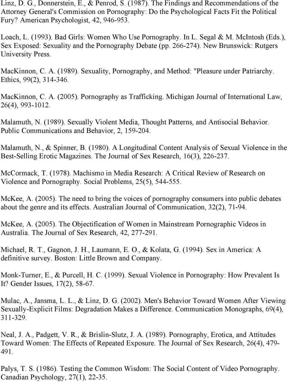 "New Brunswick: Rutgers University MacKinnon, C. A. (1989). Sexuality, Pornography, and Method: ""Pleasure under Patriarchy. Ethics, 99(2), 314-346. MacKinnon, C. A. (2005). Pornography as Trafficking."