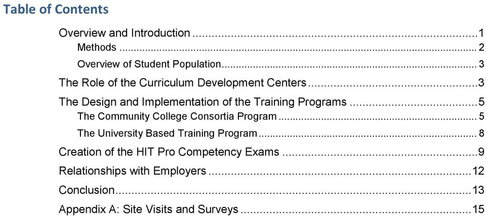 .. 5 The Community College Consortia Program... 5 The University Based Training Program.