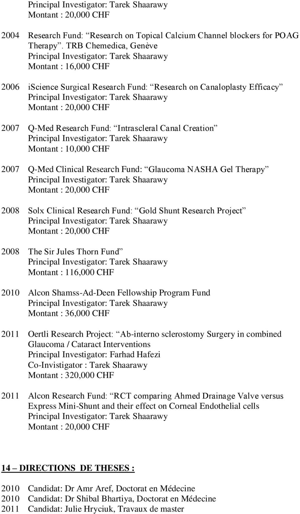 10,000 CHF 2007 Q-Med Clinical Research Fund: Glaucoma NASHA Gel Therapy Montant : 20,000 CHF 2008 Solx Clinical Research Fund: Gold Shunt Research Project Montant : 20,000 CHF 2008 The Sir Jules