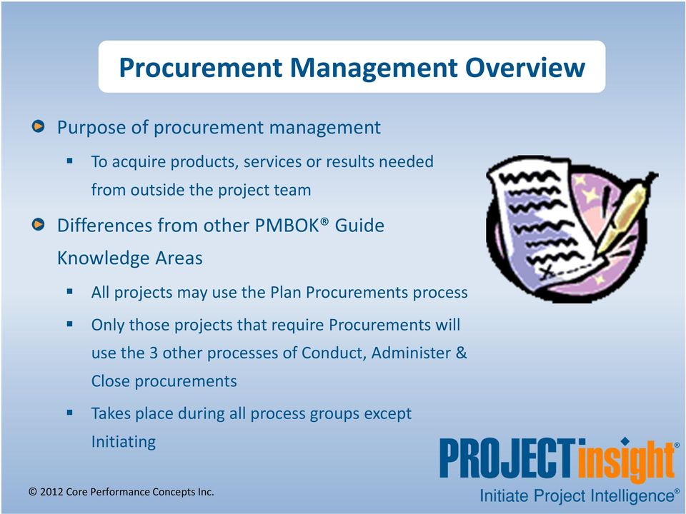 projects may use the Plan Procurements process Only those projects that require Procurements will use the