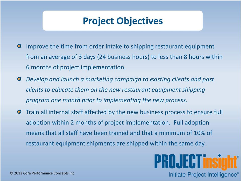 Develop and launch a marketing campaign to existing clients and past clients to educate them on the new restaurant equipment shipping program one month prior to