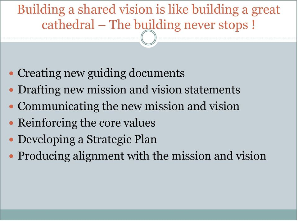 Creating new guiding documents Drafting new mission and vision statements