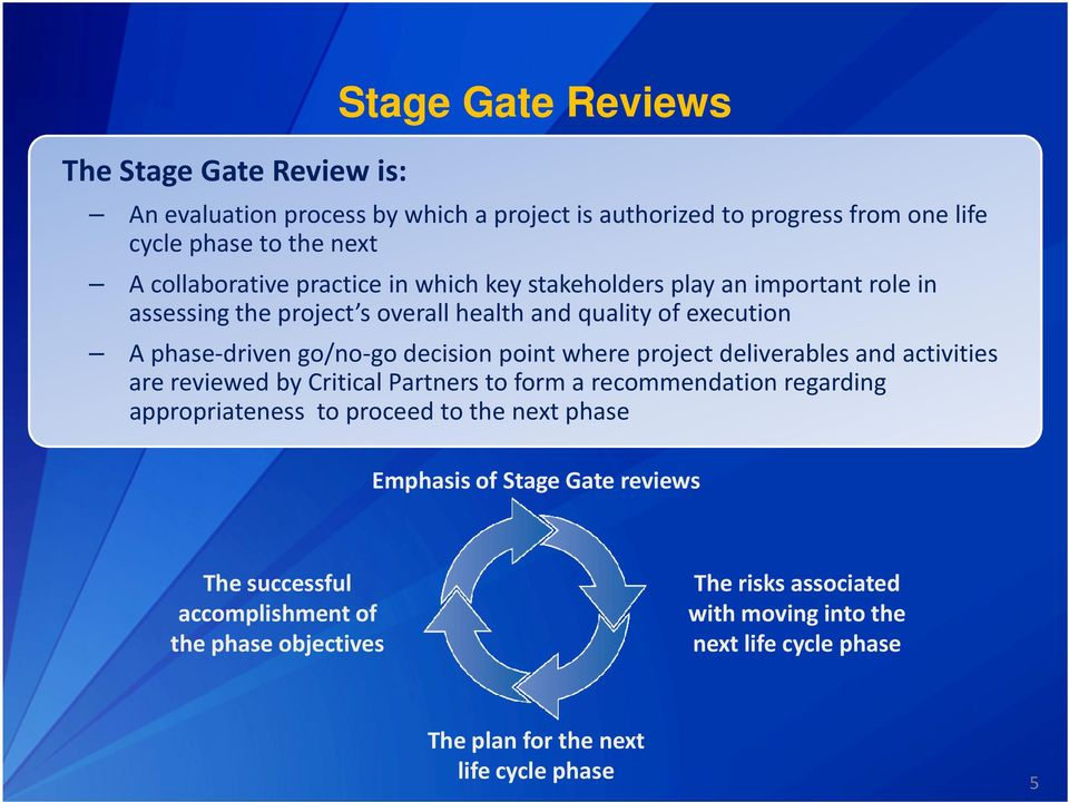 where project deliverables and activities are reviewed by Critical Partners to form a recommendation regarding appropriateness to proceed to the next phase Emphasis of