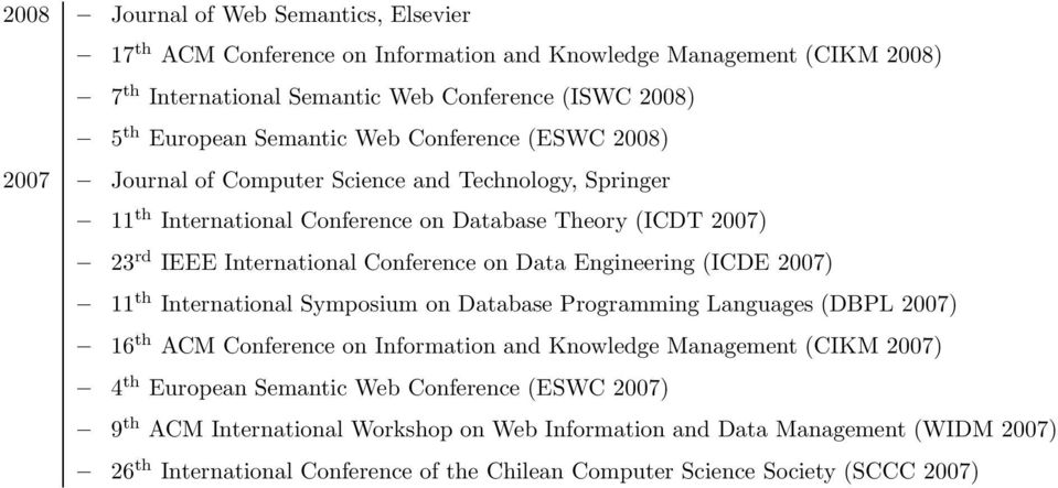 Engineering (ICDE 2007) 11 th International Symposium on Database Programming Languages (DBPL 2007) 16 th ACM Conference on Information and Knowledge Management (CIKM 2007) 4 th European