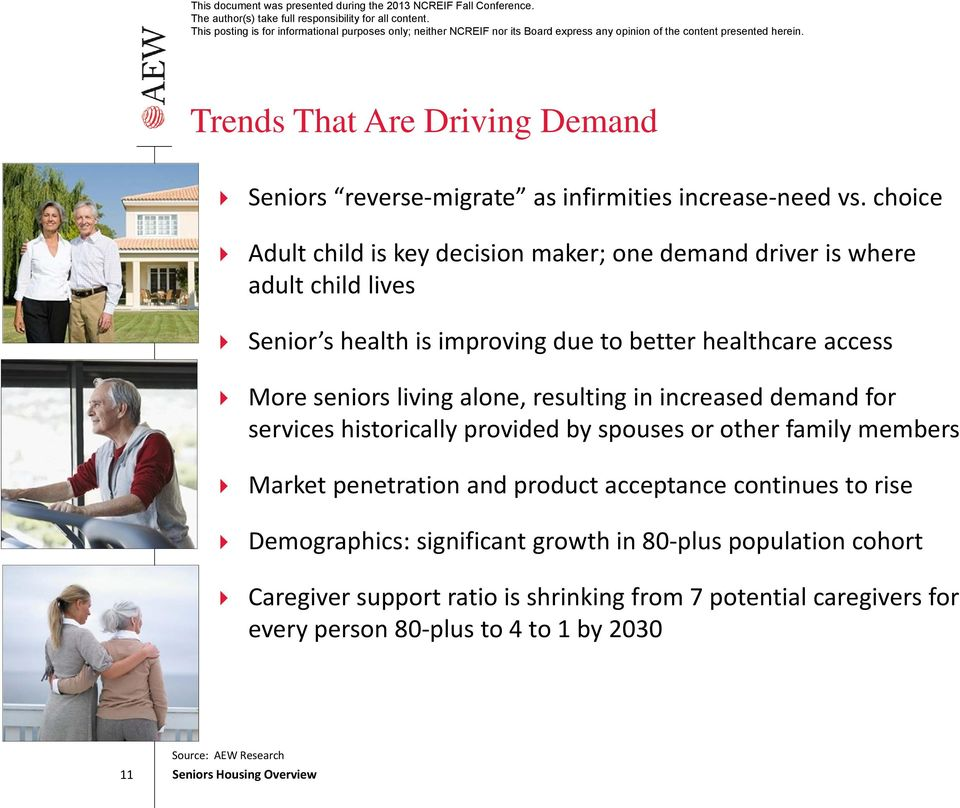seniors living alone, resulting in increased demand for services historically provided by spouses or other family members Market penetration and product