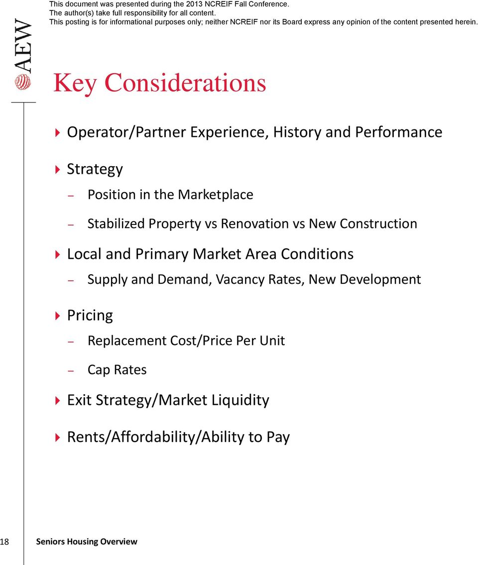 Market Area Conditions Supply and Demand, Vacancy Rates, New Development Pricing Replacement