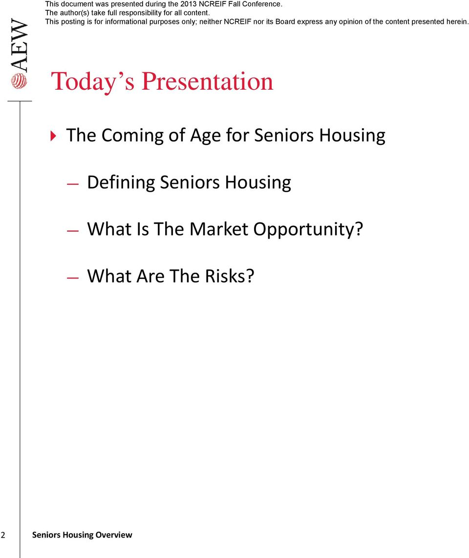 Seniors Housing What Is The Market