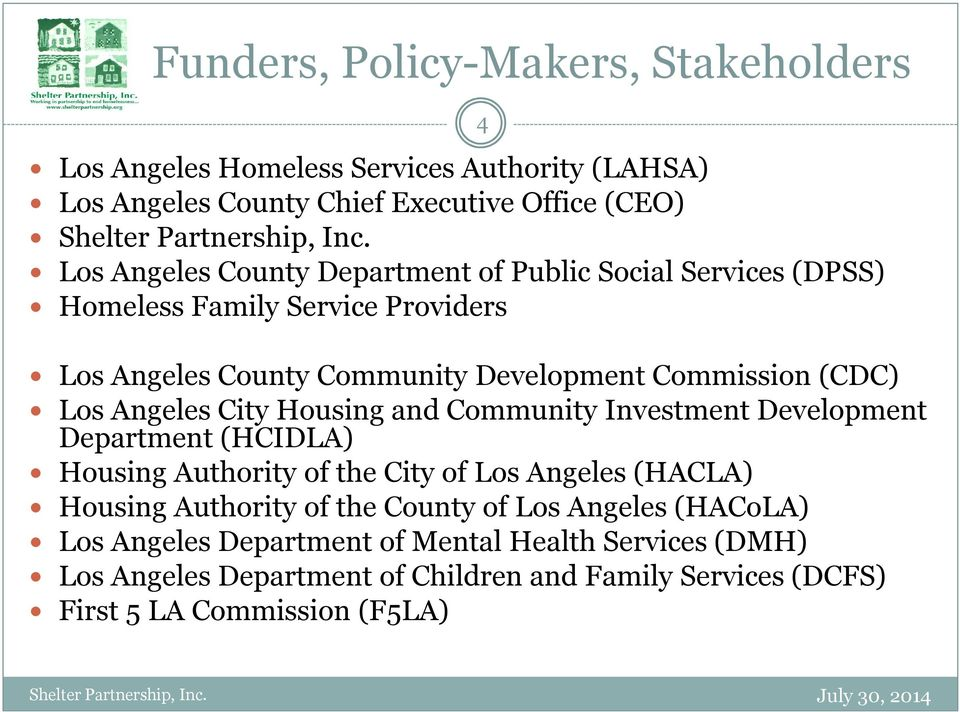 Housing and Community Investment Development Department (HCIDLA) Housing Authority of the City of Los Angeles (HACLA) Housing Authority of the County of Los