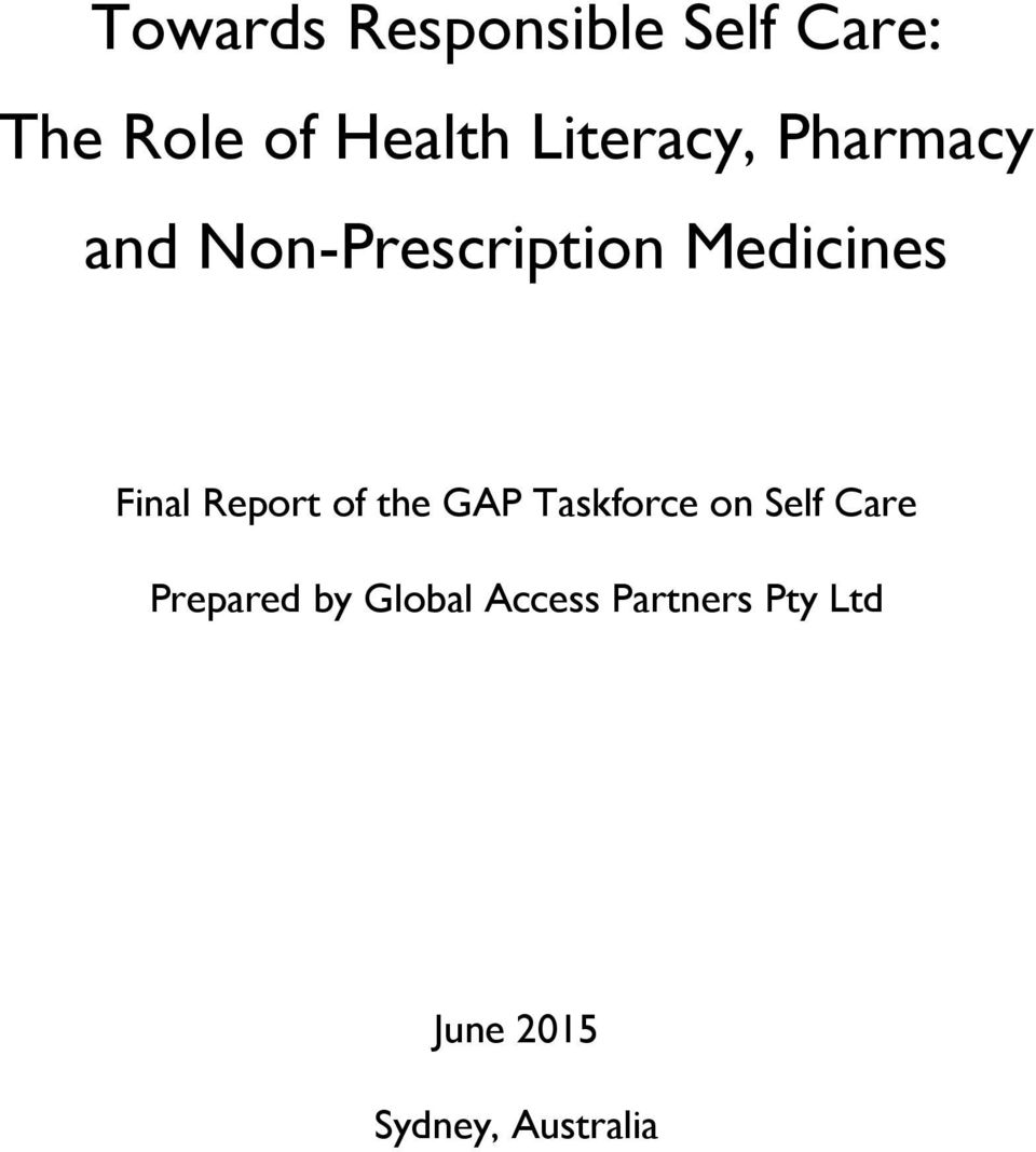 Final Report of the GAP Taskforce on Self Care