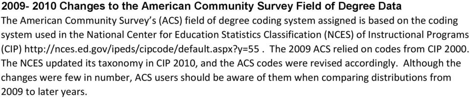 ed.gov/ipeds/cipcode/default.aspx?y=55. The 2009 ACS relied on codes from CIP 2000.