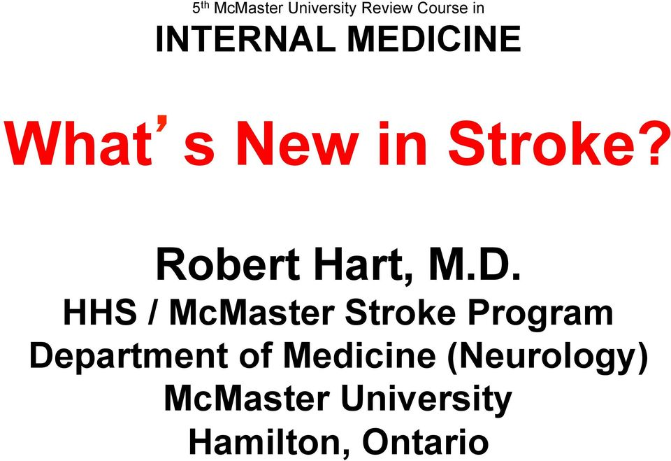 HHS / McMaster Stroke Program Department of