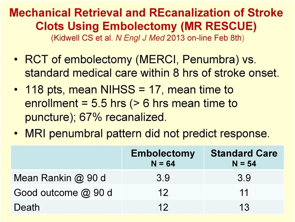 standard medical care within 8 hrs of stroke onset. 118 pts, mean NIHSS = 17, mean time to enrollment = 5.