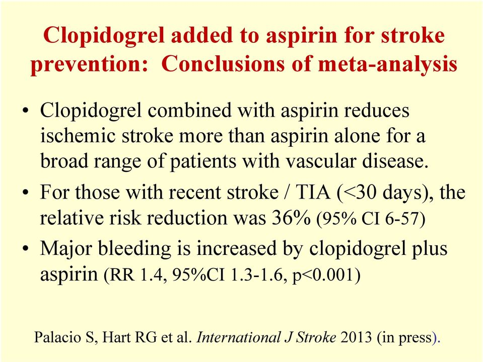 For those with recent stroke / TIA (<30 days), the relative risk reduction was 36% (95% CI 6-57) Major bleeding is