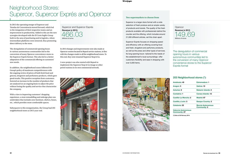 Added to this are the new synergies developed with the El Corte Inglés Group both in the area of purchasing and in logistics, where intermediate platforms were removed, thus promoting direct delivery