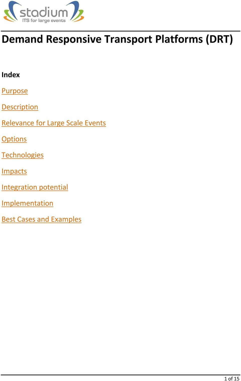 Events Options Technologies Impacts Integration