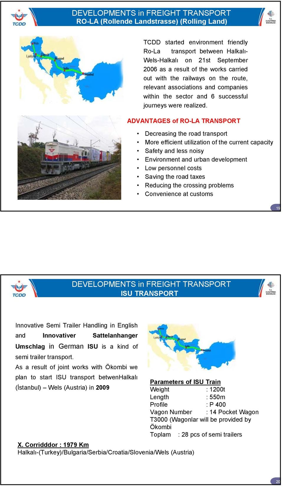 ADVANTAGES of RO-LA TRANSPORT Decreasing the road transport More efficient utilization of the current capacity Safety and less noisy Environment and urban development Low personnel costs Saving the