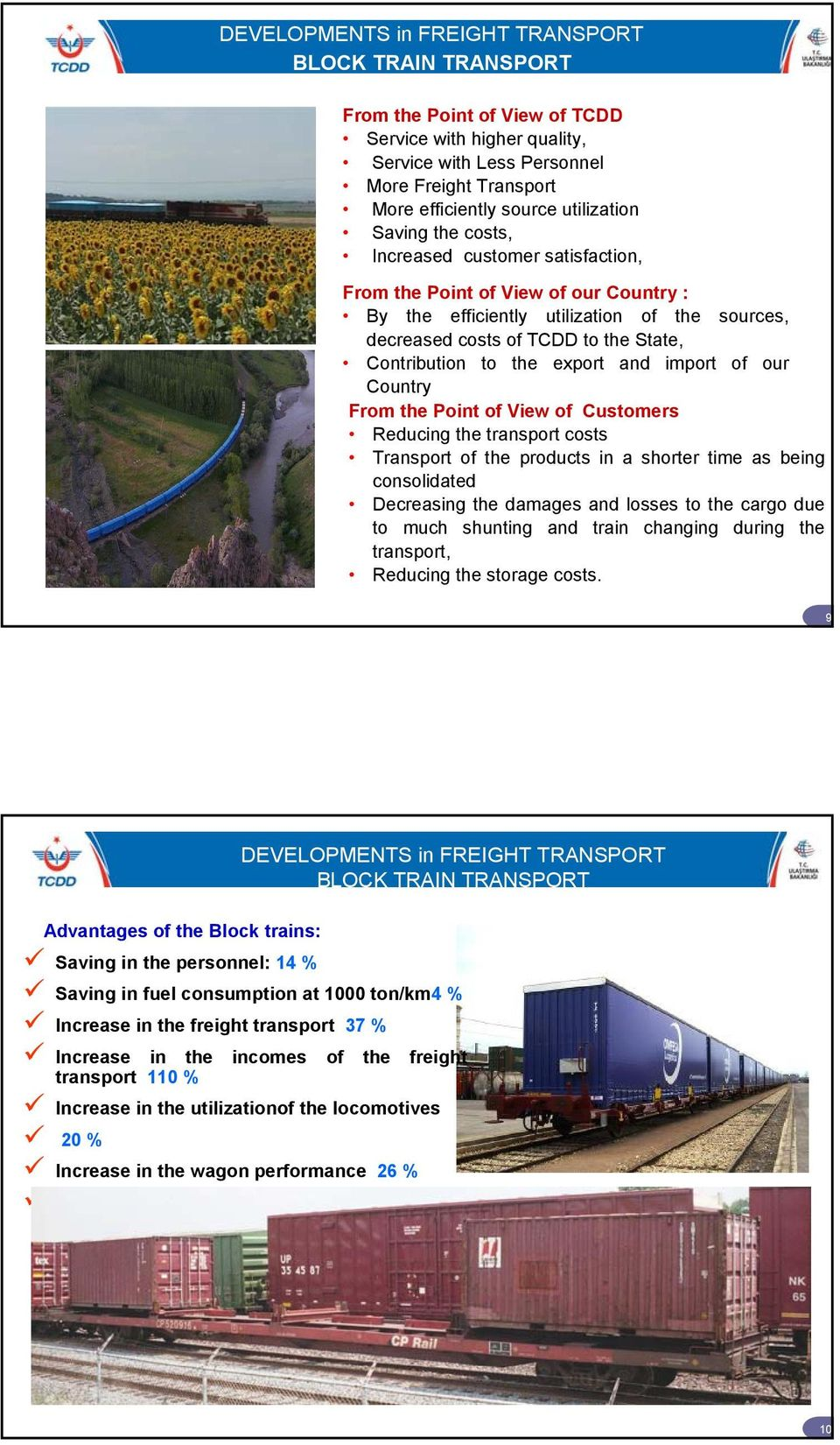 export and import of our Country From the Point of View of Customers Reducing the transport costs Transport of the products in a shorter time as being consolidated Decreasing the damages and losses