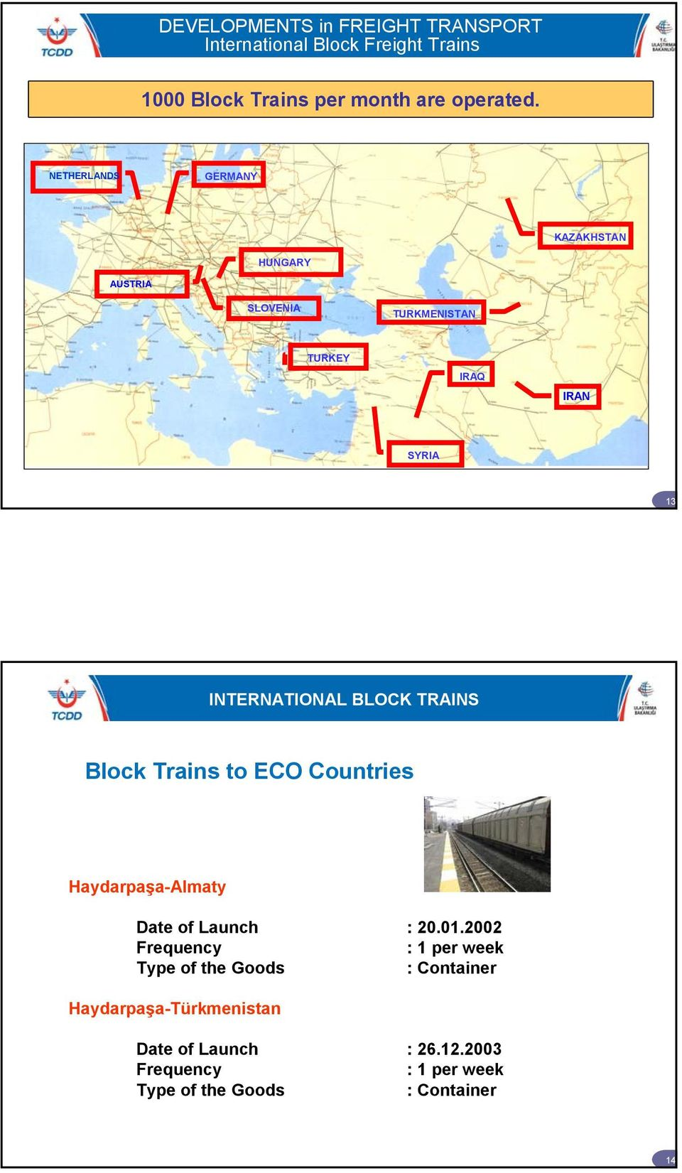 BLOCK TRAINS Block Trains to ECO Countries Haydarpaşa-Almaty Date of Launch : 20.01.