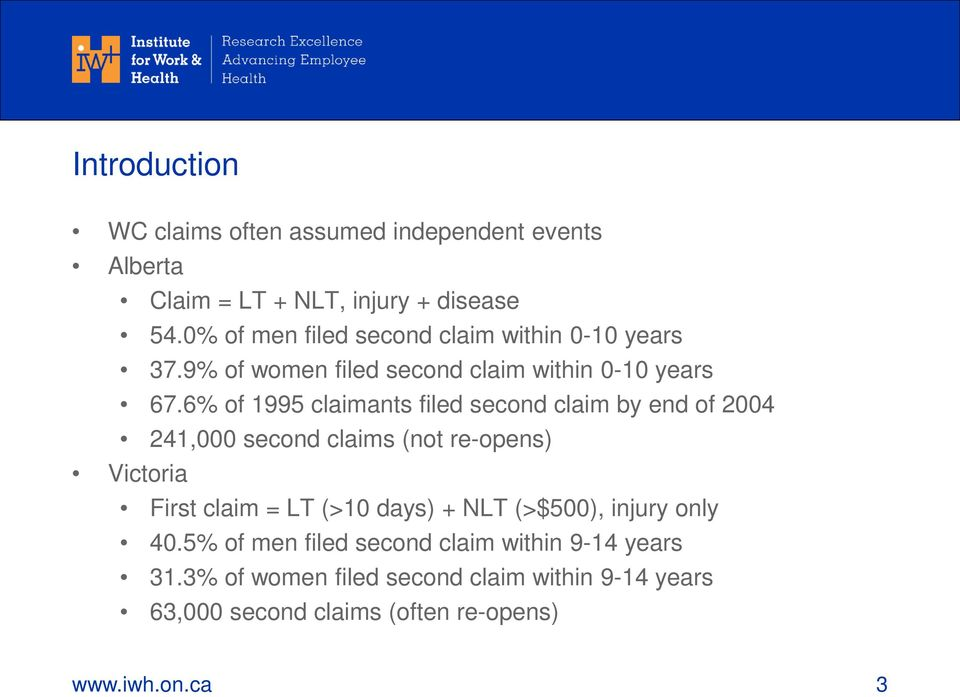 6% of 1995 claimants filed second claim by end of 2004 241,000 second claims (not re-opens) Victoria First claim = LT (>10