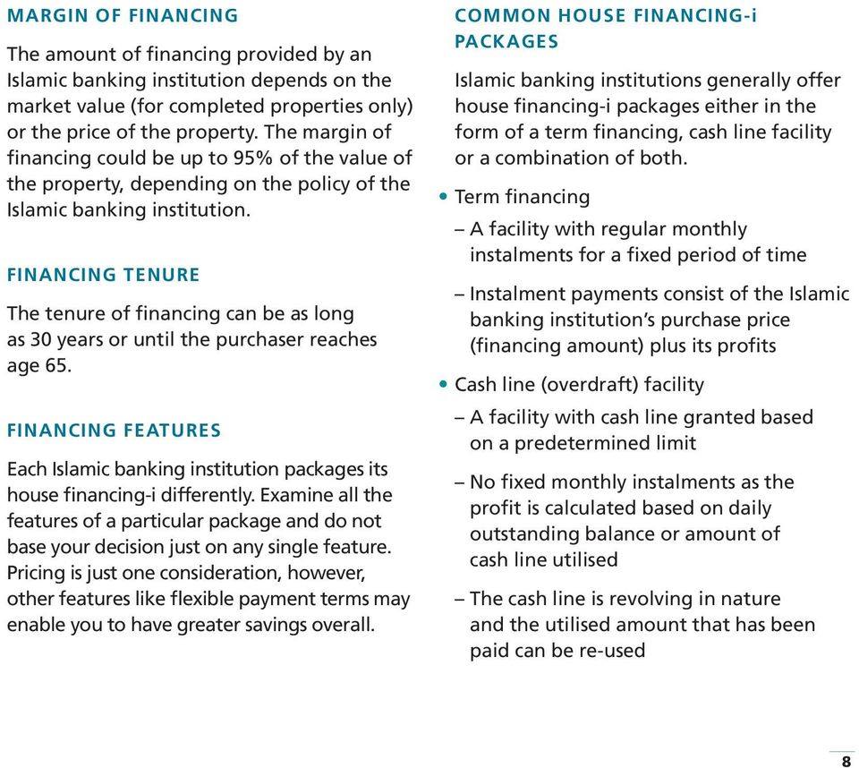 FINANCING TENURE The tenure of financing can be as long as 30 years or until the purchaser reaches age 65.