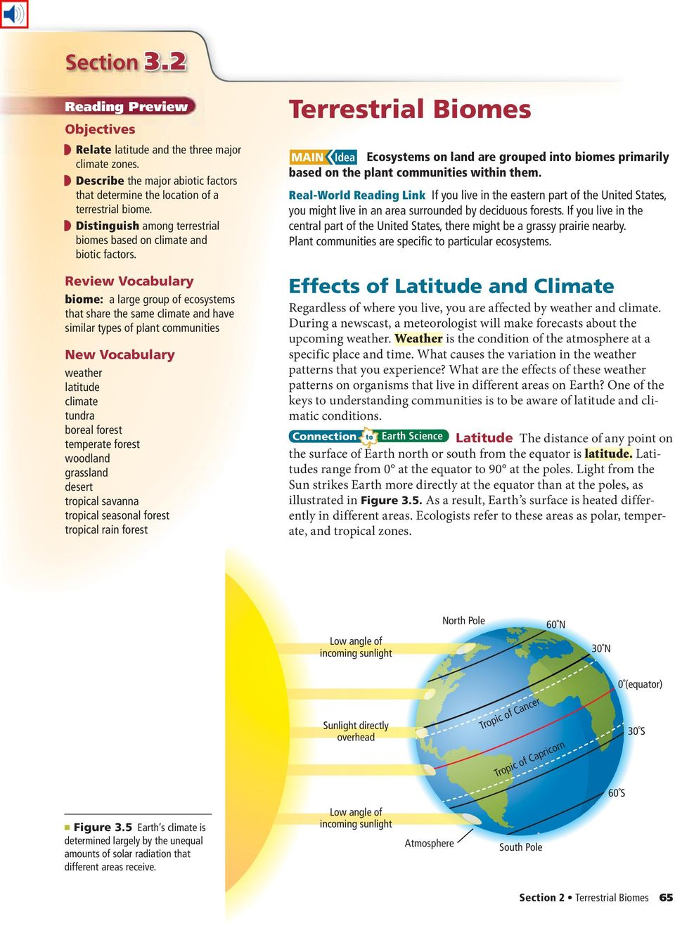 Review Vocabulary biome: a large group of ecosystems that share the same climate and have similar types of plant communities New Vocabulary weather latitude climate tundra boreal forest temperate