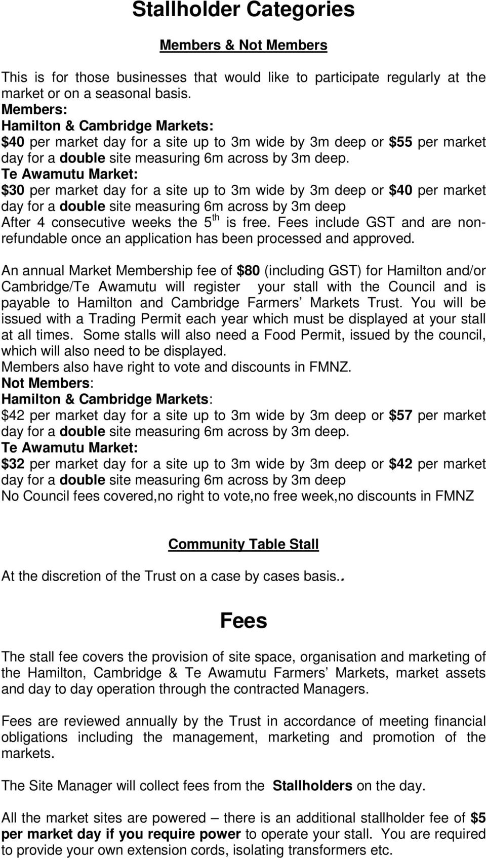 Te Awamutu Market: $30 per market day for a site up to 3m wide by 3m deep or $40 per market day for a double site measuring 6m across by 3m deep After 4 consecutive weeks the 5 th is free.