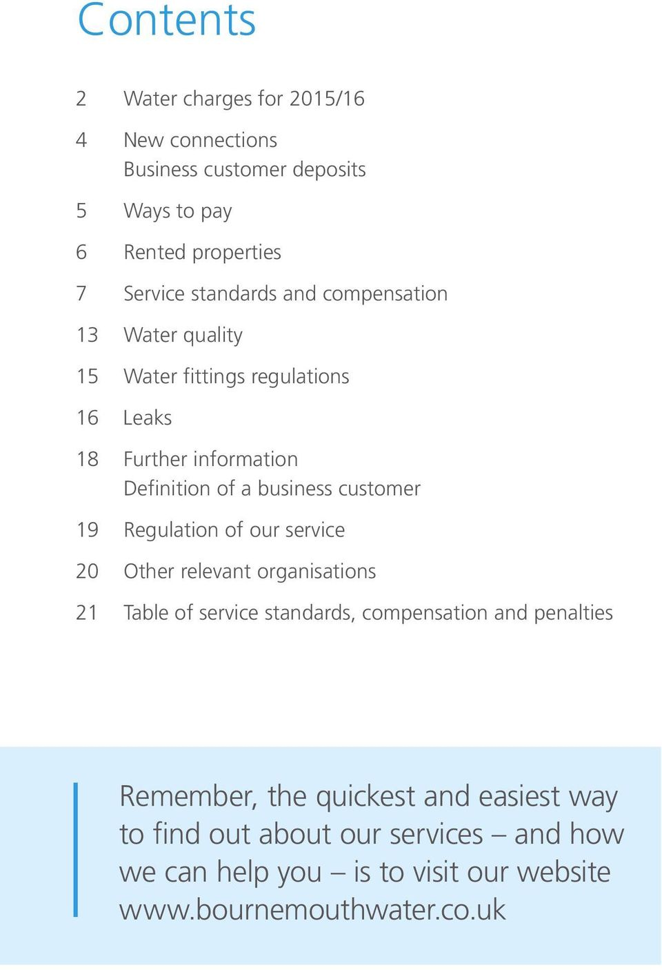customer 19 Regulation of our service 20 Other relevant organisations 21 Table of service standards, compensation and penalties