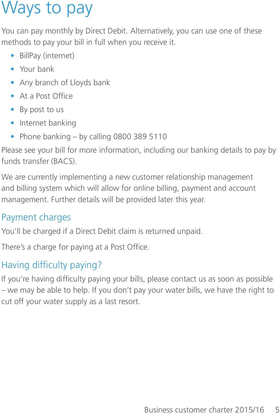 banking details to pay by funds transfer (BACS).