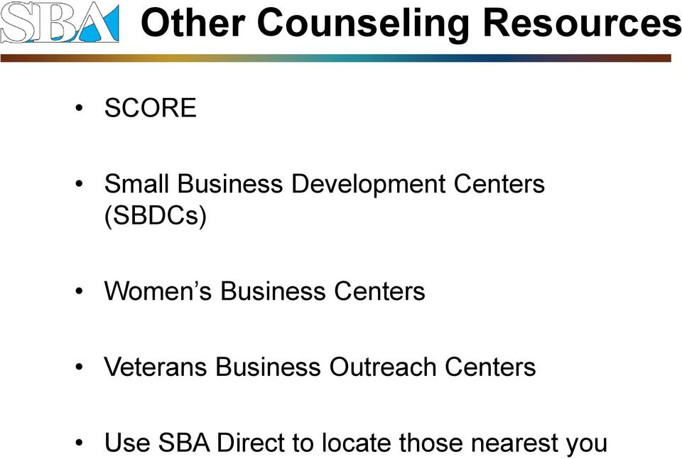 Business Centers Veterans Business Outreach