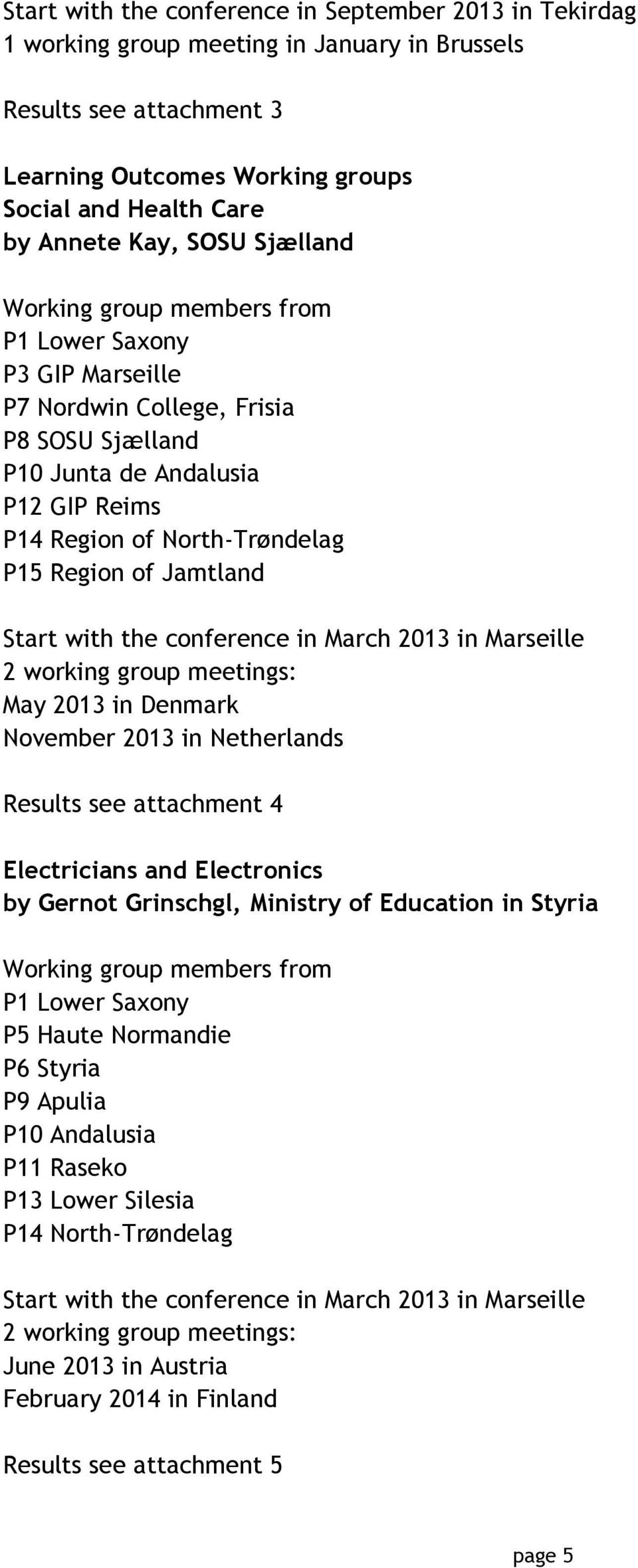 Jamtland Start with the conference in March 2013 in Marseille 2 working group meetings: May 2013 in Denmark November 2013 in Netherlands Results see attachment 4 Electricians and Electronics by