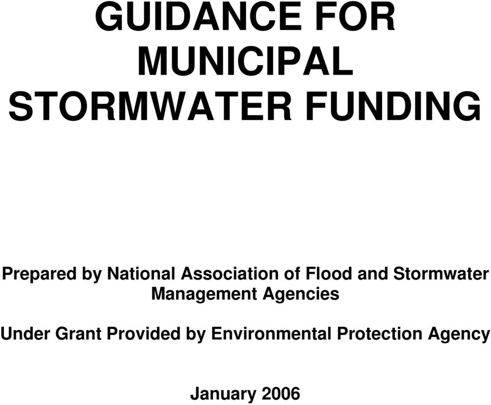 Stormwater Management Agencies Under Grant