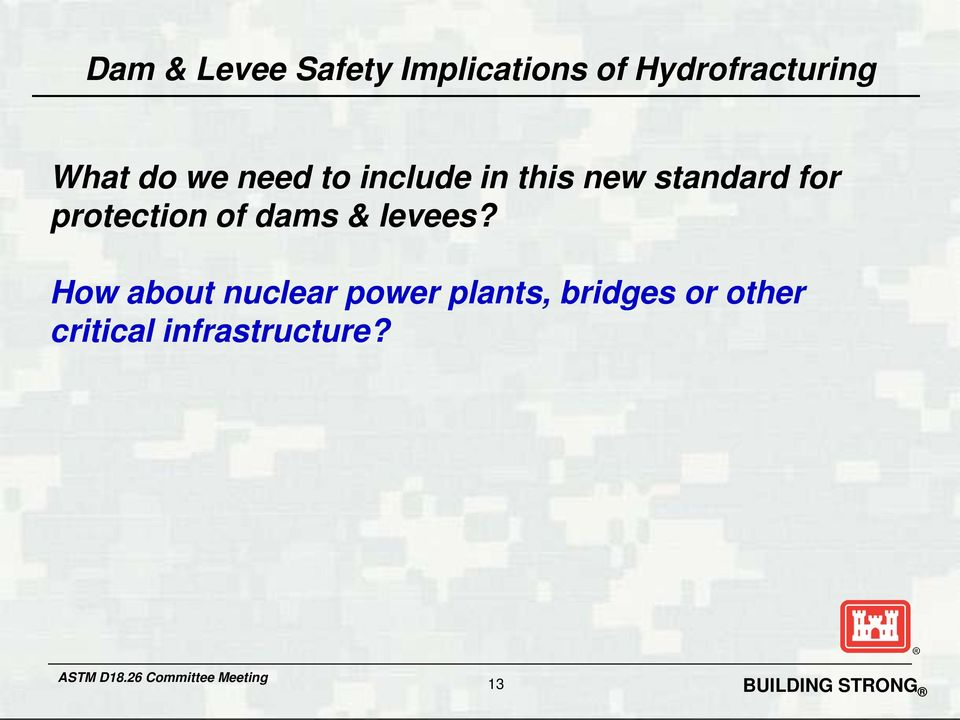 protection of dams & levees?