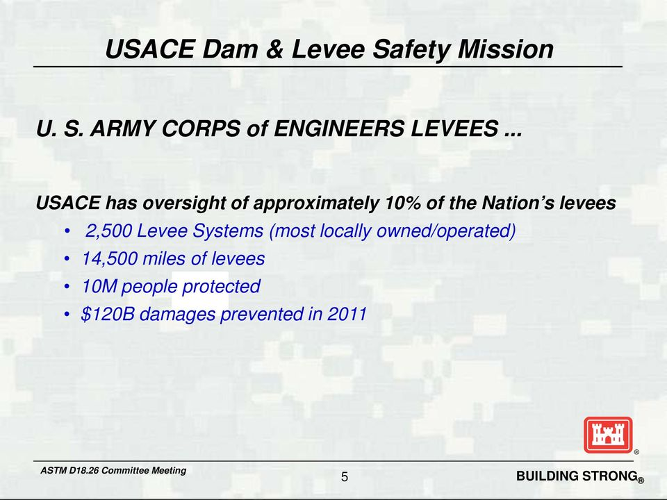 levees 2,500 Levee Systems (most locally owned/operated) 14,500