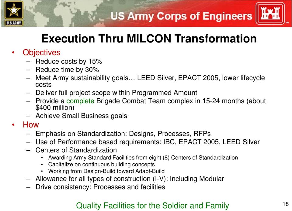 Performance based requirements: IBC, EPACT 2005, LEED Silver Centers of Standardization Awarding Army Standard Facilities from eight (8) Centers of Standardization Capitalize on continuous building