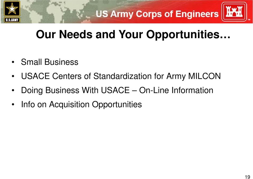 for Army MILCON Doing Business With USACE
