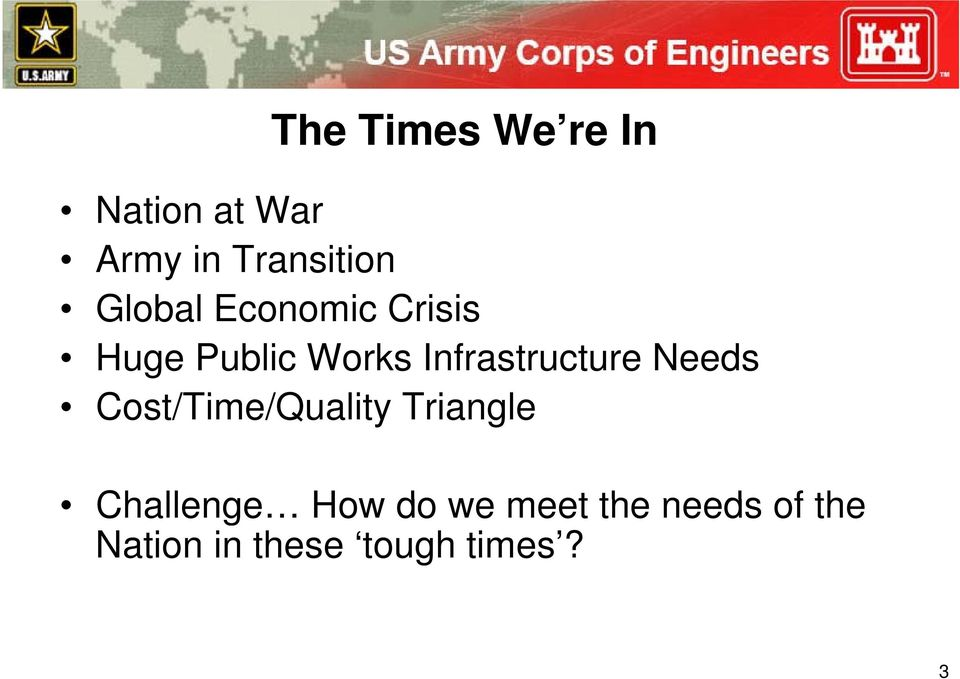 Infrastructure Needs Cost/Time/Quality /Q Triangle