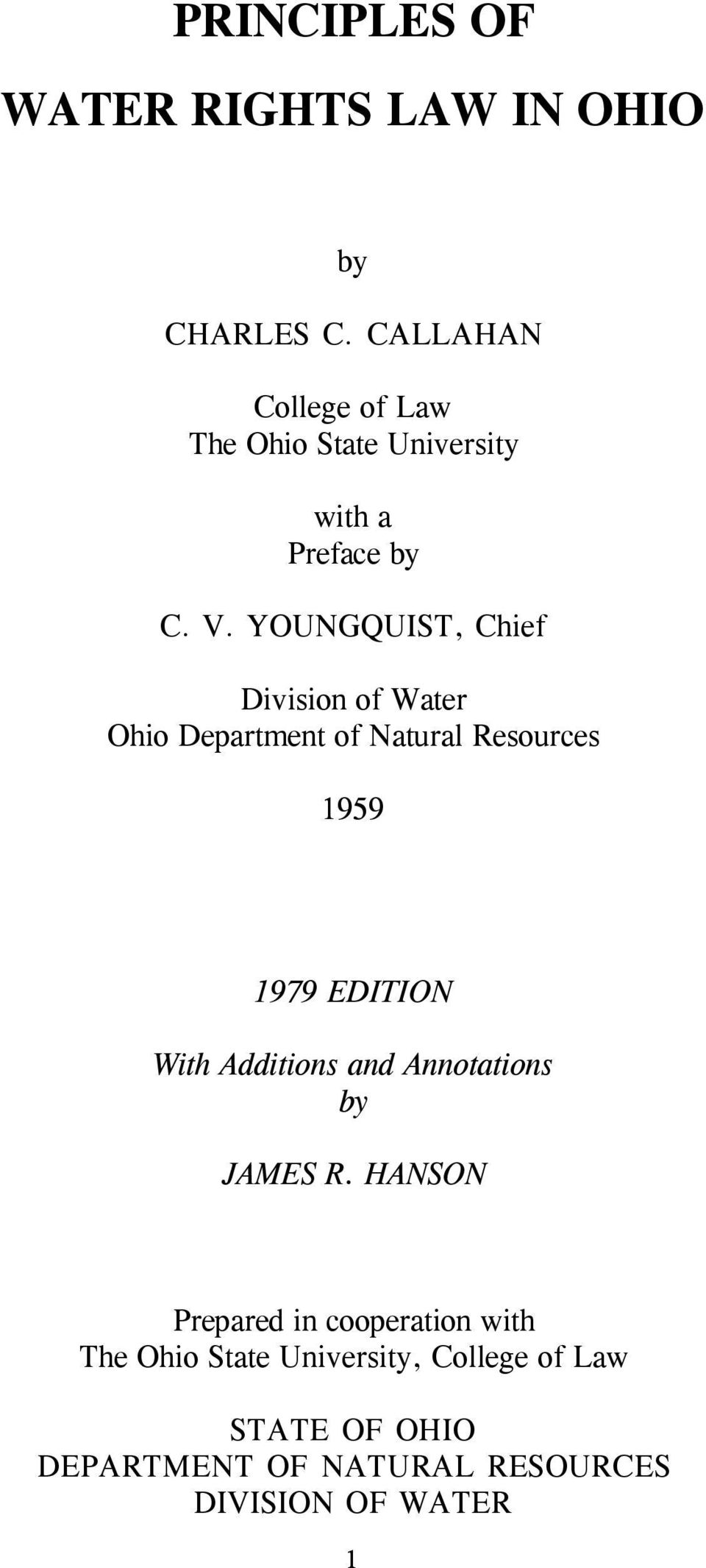 YOUNGQUIST, Chief Division of Water Ohio Department of Natural Resources 1959 1979 EDITION With