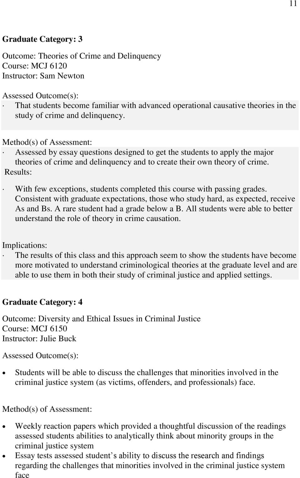 Method(s) of Assessment: Assessed by essay questions designed to get the students to apply the major theories of crime and delinquency and to create their own theory of crime.
