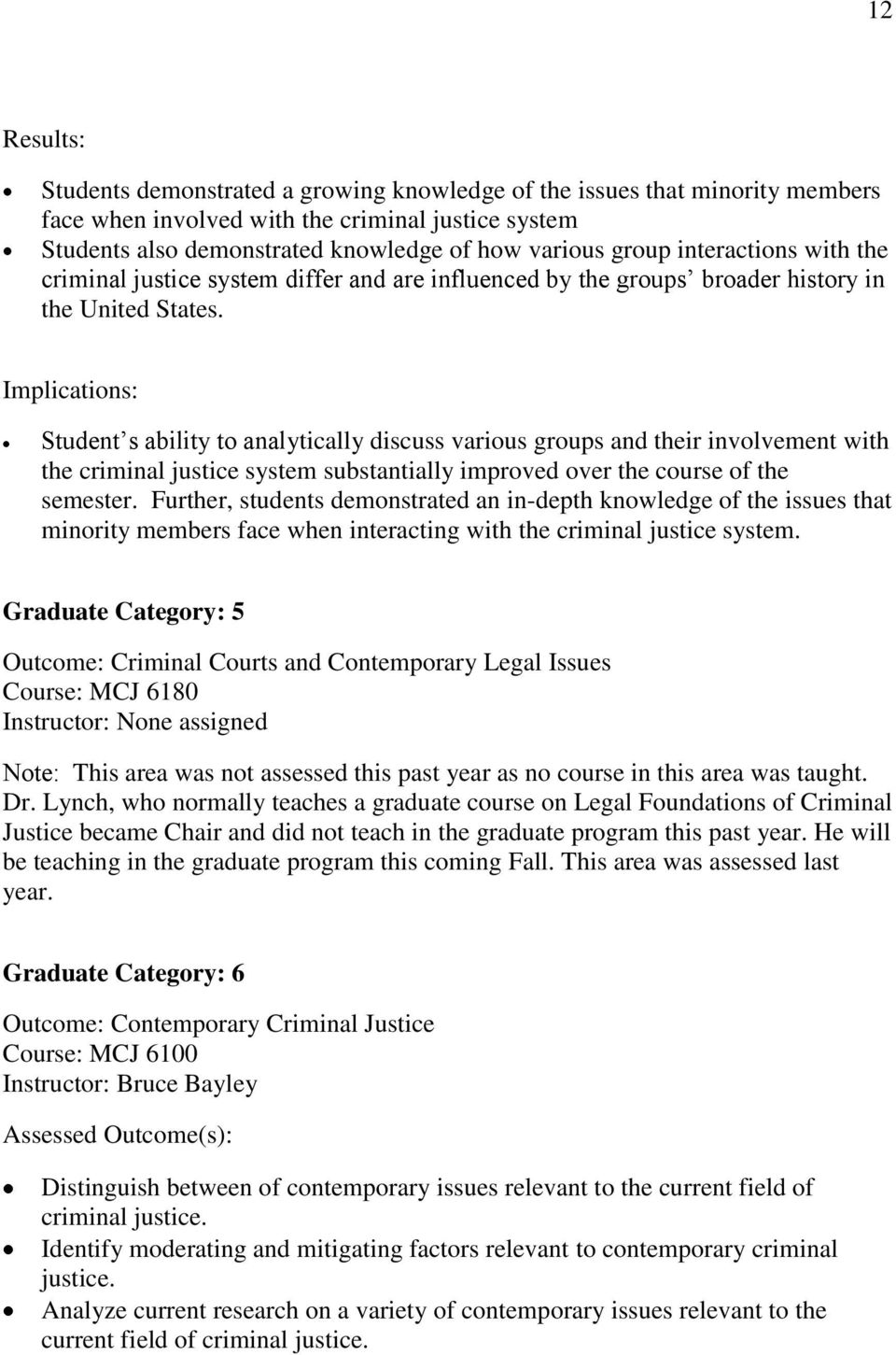 Implications: Student s ability to analytically discuss various groups and their involvement with the criminal justice system substantially improved over the course of the semester.