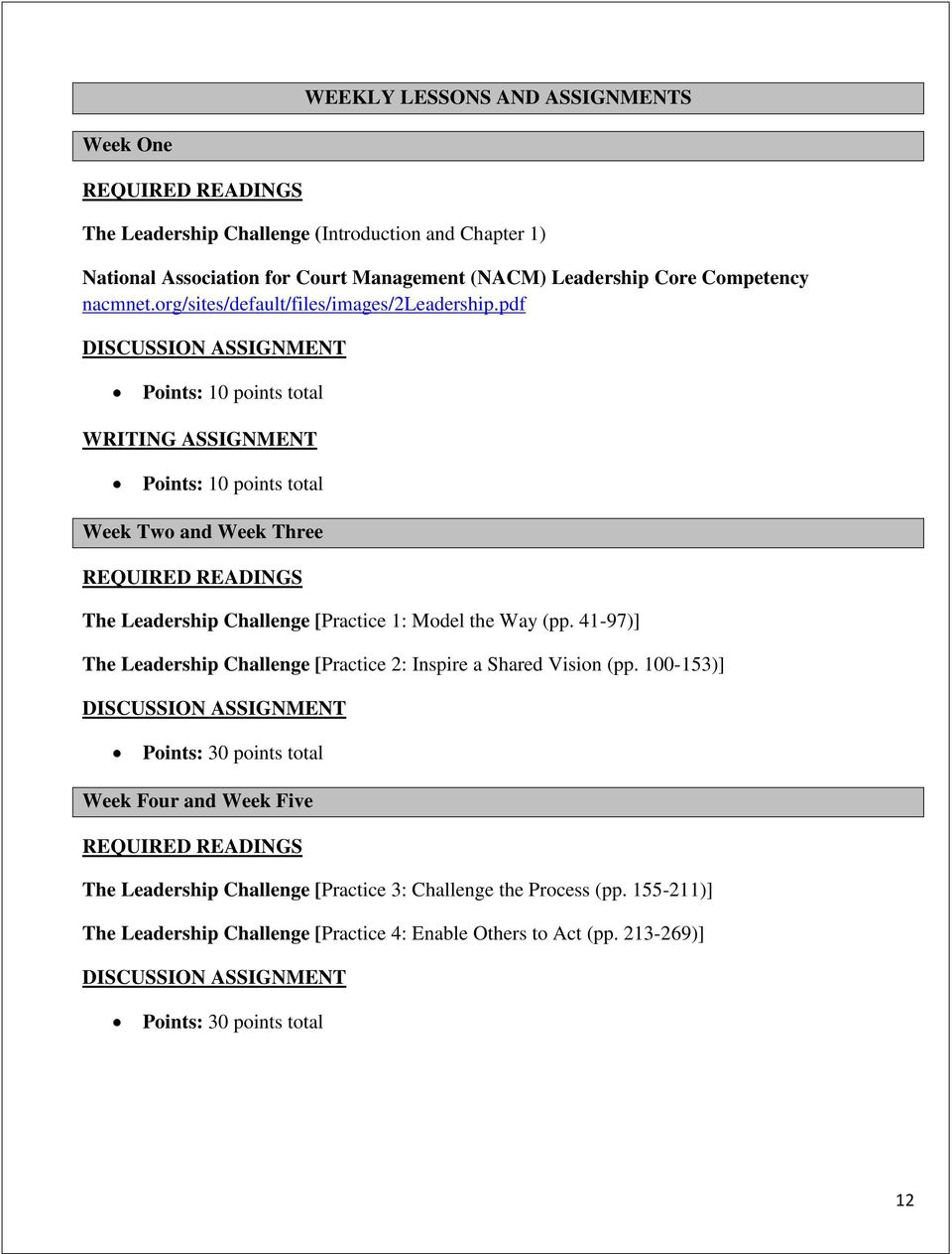 pdf DISCUSSION ASSIGNMENT Points: 10 points total WRITING ASSIGNMENT Points: 10 points total Week Two and Week Three REQUIRED READINGS The Leadership Challenge [Practice 1: Model the Way (pp.