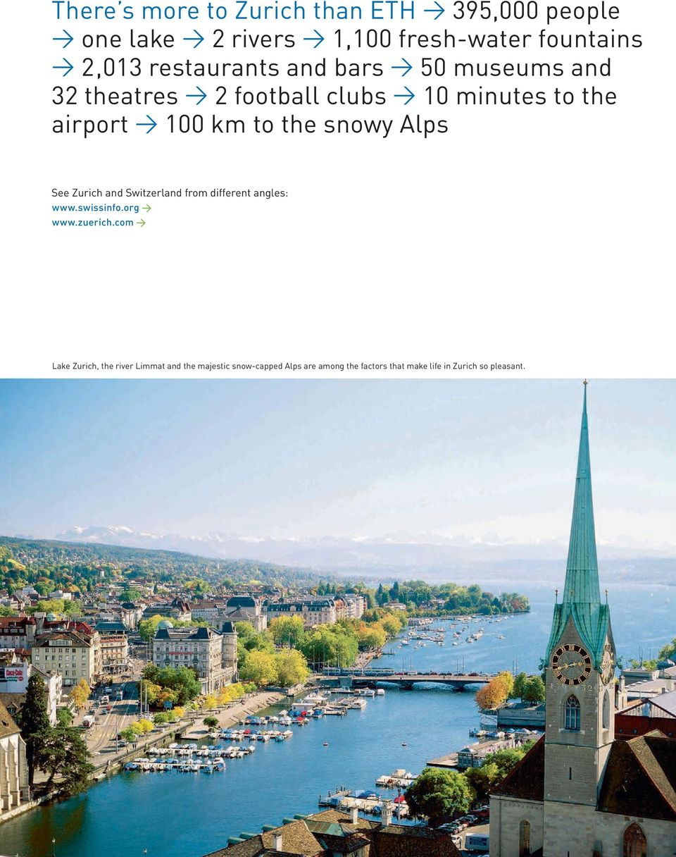 snowy Alps See Zurich and Switzerland from different angles: www.swissinfo.org www.zuerich.