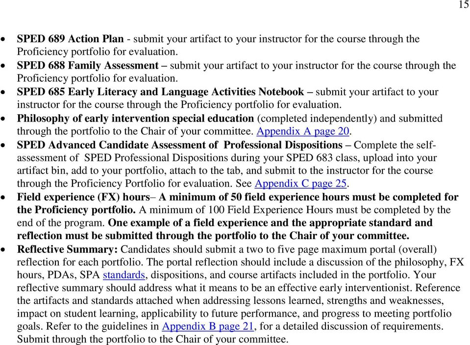 SPED 685 Early Literacy and Language Activities Notebook submit your artifact to your instructor for the course through the Proficiency portfolio for evaluation.