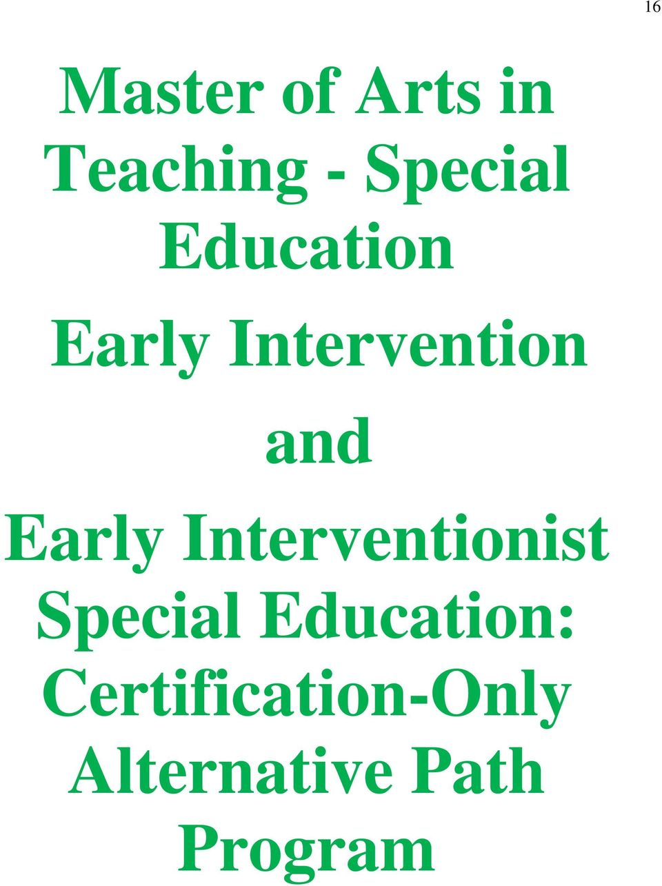 Interventionist Special Education: