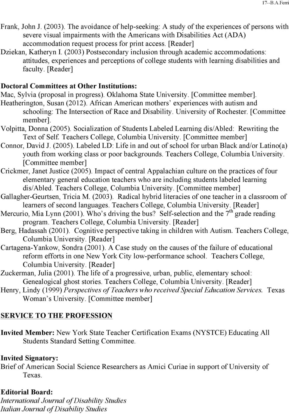 [Reader] Dziekan, Katheryn I. (2003) Postsecondary inclusion through academic accommodations: attitudes, experiences and perceptions of college students with learning disabilities and faculty.