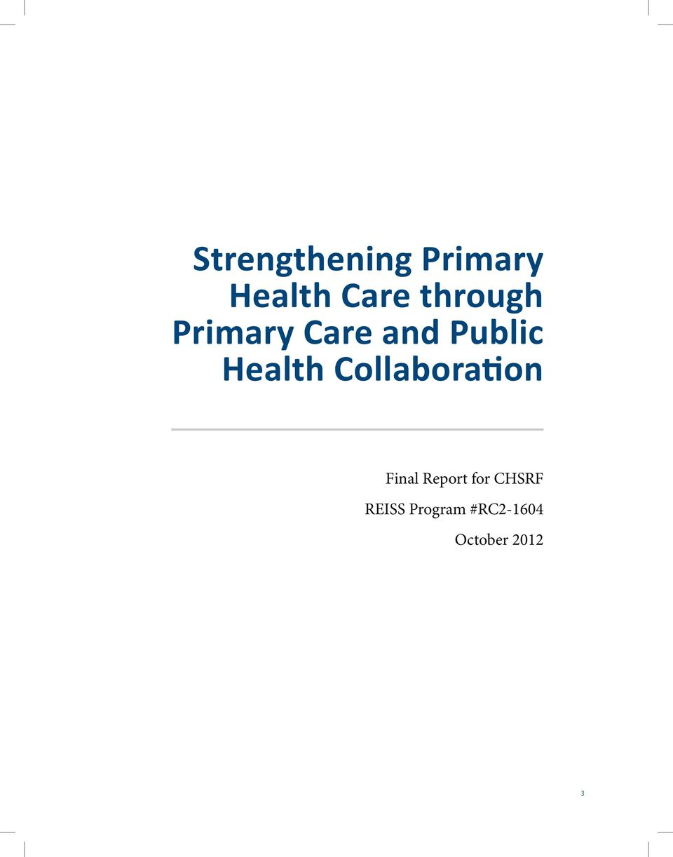 Health Collaboration Final Report