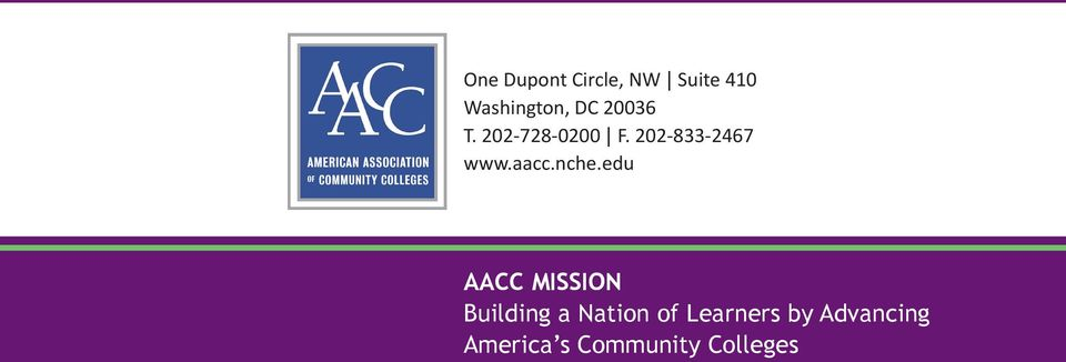 nche.edu AACC MISSION Building a Nation of